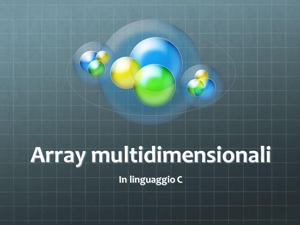 Array multidimensionali In linguaggio C