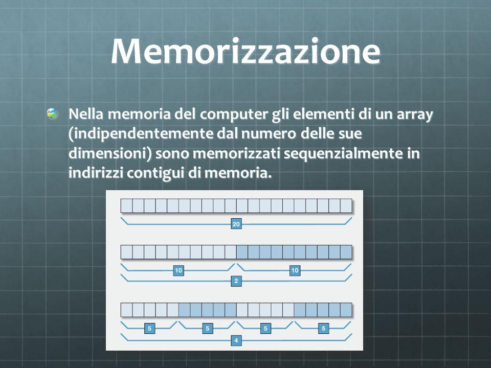 Memorizzazione Nella memoria del computer gli elementi di un array (indipendentemente dal numero delle sue dimensioni) sono memorizzati sequenzialment