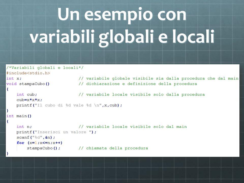 Un esempio con variabili globali e locali