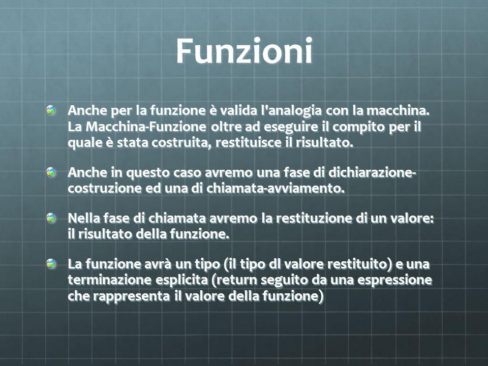 Funzioni Anche per la funzione è valida l'analogia con la macchina. La Macchina-Funzione oltre ad eseguire il compito per il quale è stata costruita,