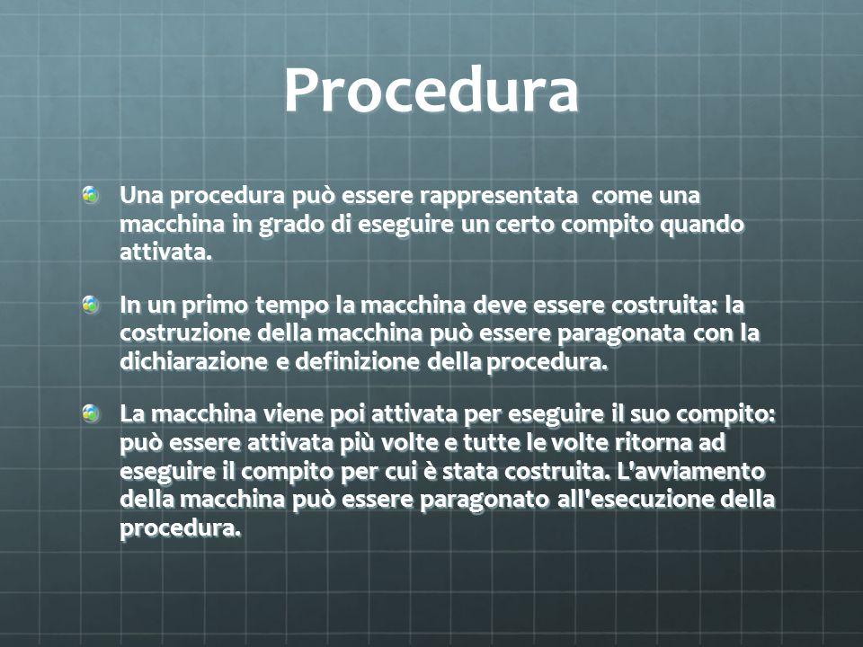 Procedure in C In linguaggio C / C++ non esistono procedure ma solo funzioni.