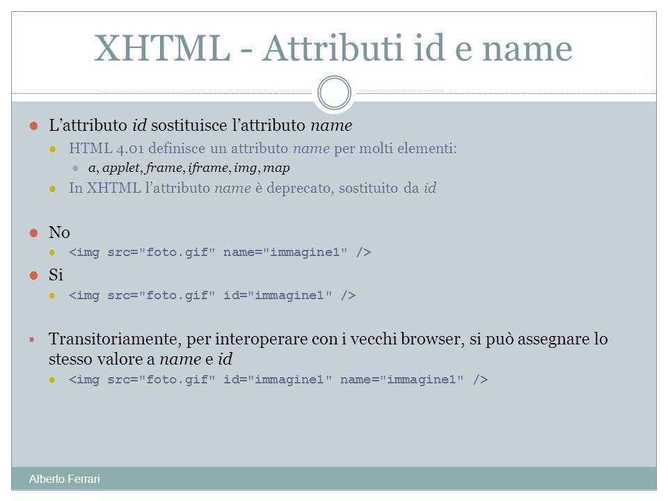 Alberto Ferrari Lattributo id sostituisce lattributo name HTML 4.01 definisce un attributo name per molti elementi: a, applet, frame, iframe, img, map