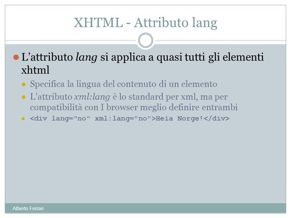 Alberto Ferrari Lattributo lang si applica a quasi tutti gli elementi xhtml Specifica la lingua del contenuto di un elemento Lattributo xml:lang è lo standard per xml, ma per compatibilità con I browser meglio definire entrambi Heia Norge!