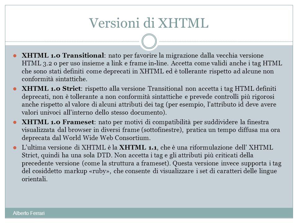 Alberto Ferrari XHTML 1.0 Transitional: nato per favorire la migrazione dalla vecchia versione HTML 3.2 o per uso insieme a link e frame in-line. Acce