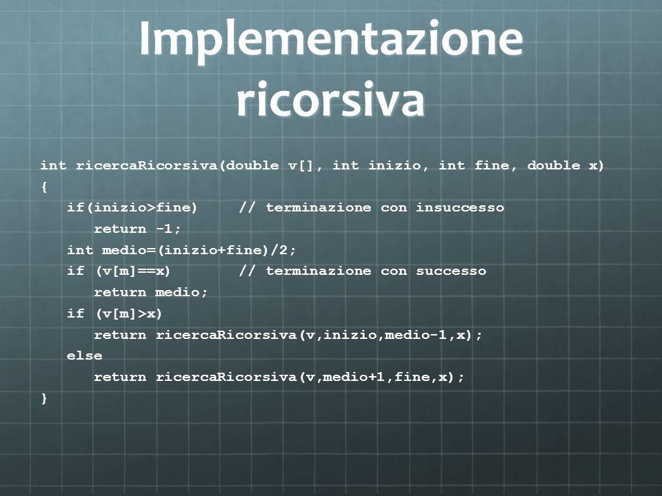 Implementazione ricorsiva int ricercaRicorsiva(double v[], int inizio, int fine, double x) { if(inizio>fine)// terminazione con insuccesso return -1;