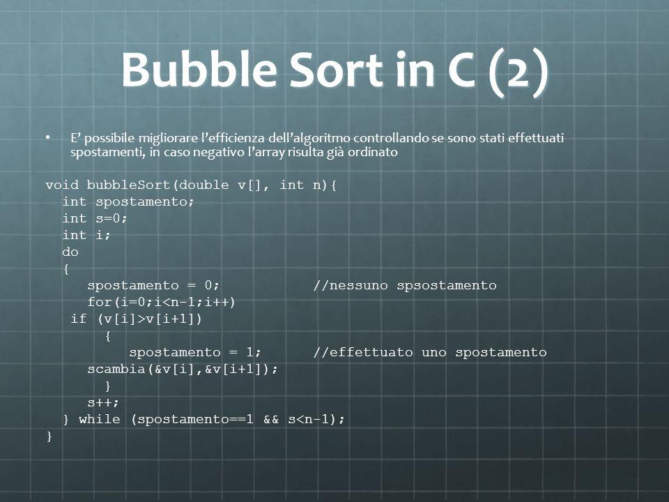Bubble Sort in C (2) E possibile migliorare lefficienza dellalgoritmo controllando se sono stati effettuati spostamenti, in caso negativo larray risul