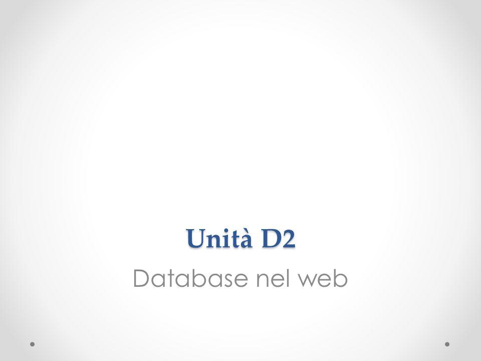 Unità D2 Database nel web