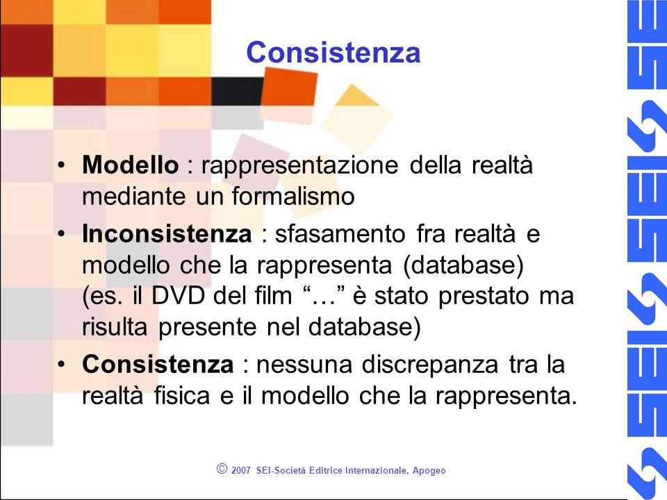 © 2007 SEI-Società Editrice Internazionale, Apogeo Consistenza Modello : rappresentazione della realtà mediante un formalismo Inconsistenza : sfasamento fra realtà e modello che la rappresenta (database) (es.