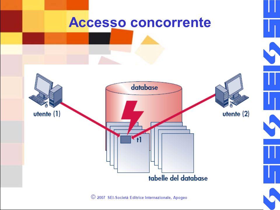 HOLDLOCK /* Permette di bloccare (in questo caso la tabella) in modo SHARE non permette che altri eseguano UPDATE ma permette altre SELECT */ BEGIN TRANSACTION SELECT * FROM Studenti WITH (HOLDLOCK) WHERE cognome = Paganuzzi -- visualizza lo stato di lock SELECT resource_type, resource_associated_entity_id,request_mode,request_status FROM sys.dm_tran_locks dml INNER JOIN sys.dm_tran_current_transaction dmt ON dml.request_owner_id = dmt.transaction_id COMMIT TRANSACTION © 2007 SEI-Società Editrice Internazionale, Apogeo