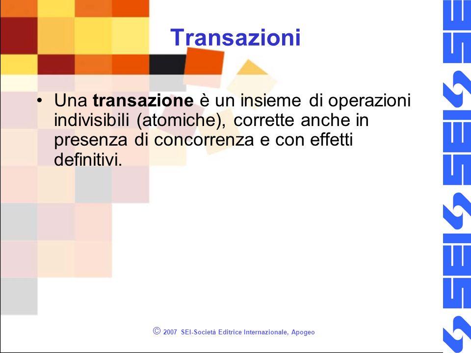 © 2007 SEI-Società Editrice Internazionale, Apogeo Transazioni Una transazione è un insieme di operazioni indivisibili (atomiche), corrette anche in presenza di concorrenza e con effetti definitivi.
