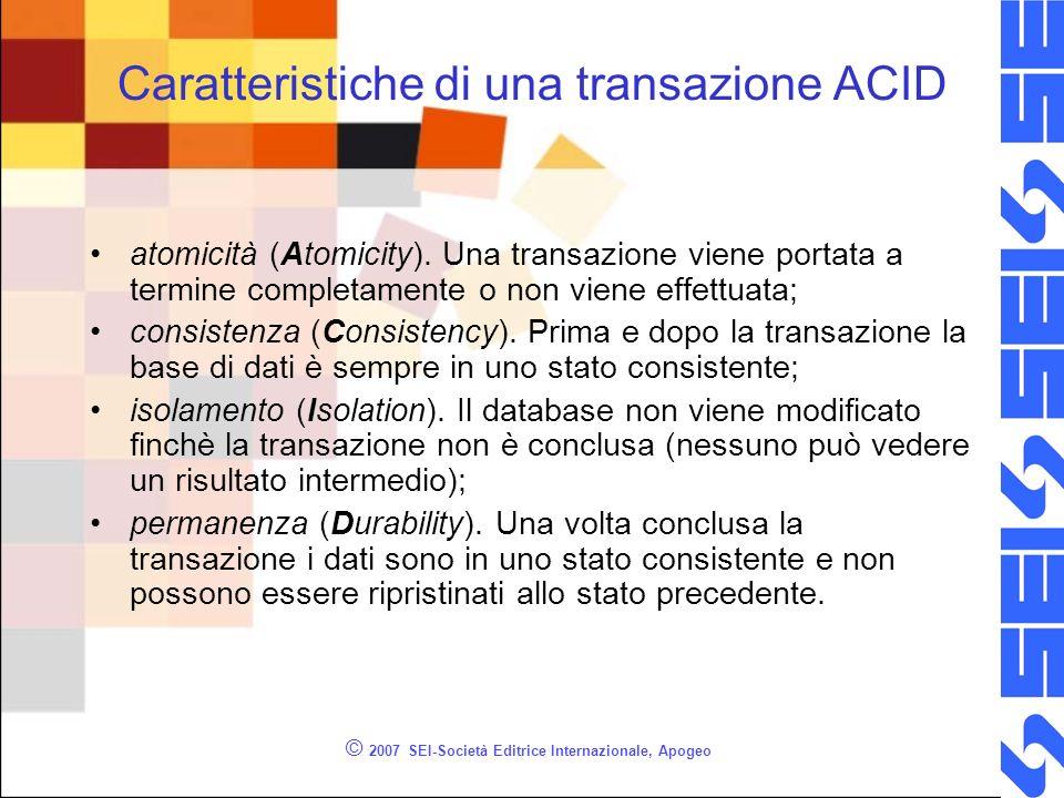 Blocco esclusivo -- UPDATE blocca la tabella in modo esclusivo BEGIN TRANSACTION UPDATE Studenti SET nome = Alberto WHERE cognome = Ferrari -- visualizza lo stato di lock SELECT resource_type, resource_associated_entity_id,request_mode,request_status FROM sys.dm_tran_locks dml INNER JOIN sys.dm_tran_current_transaction dmt ON dml.request_owner_id = dmt.transaction_id COMMIT TRANSACTION © 2007 SEI-Società Editrice Internazionale, Apogeo