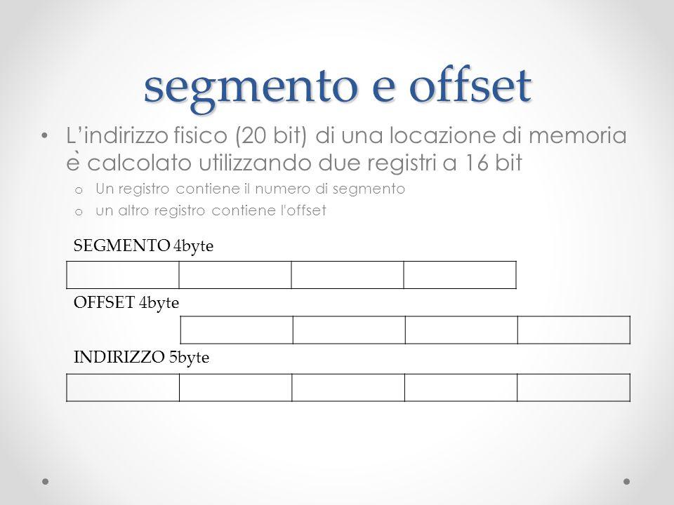 segmento e offset Lindirizzo fisico (20 bit) di una locazione di memoria e ̀ calcolato utilizzando due registri a 16 bit o Un registro contiene il num