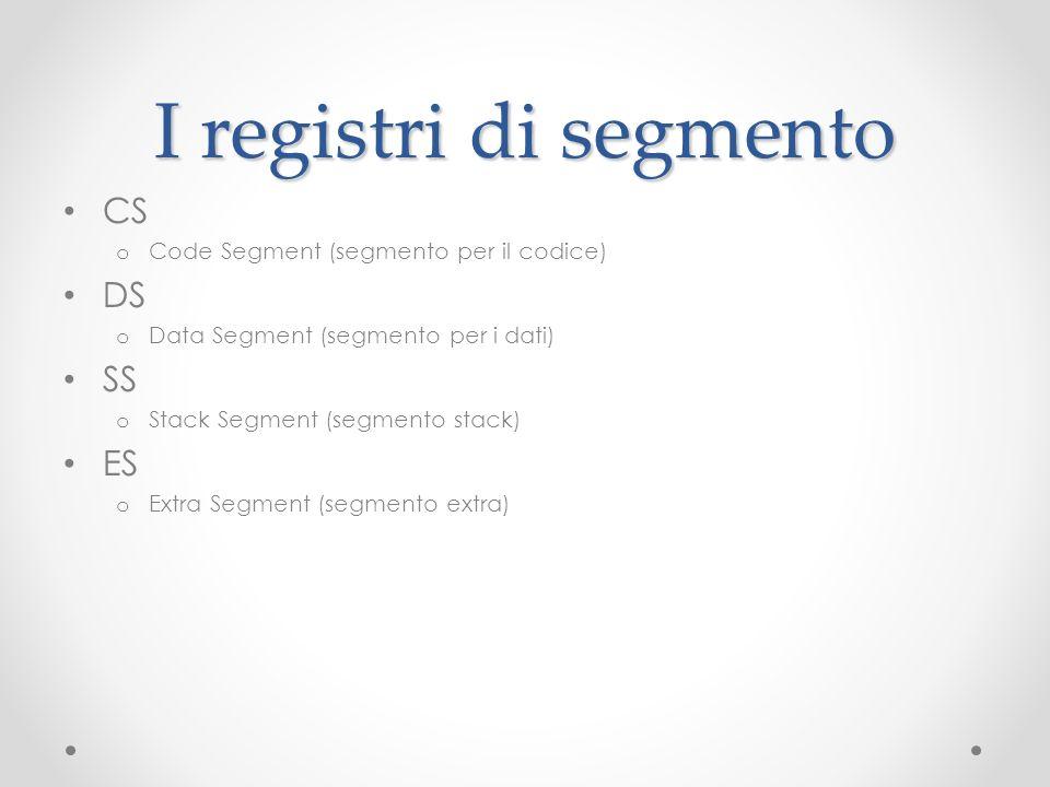 I registri di segmento CS o Code Segment (segmento per il codice) DS o Data Segment (segmento per i dati) SS o Stack Segment (segmento stack) ES o Ext