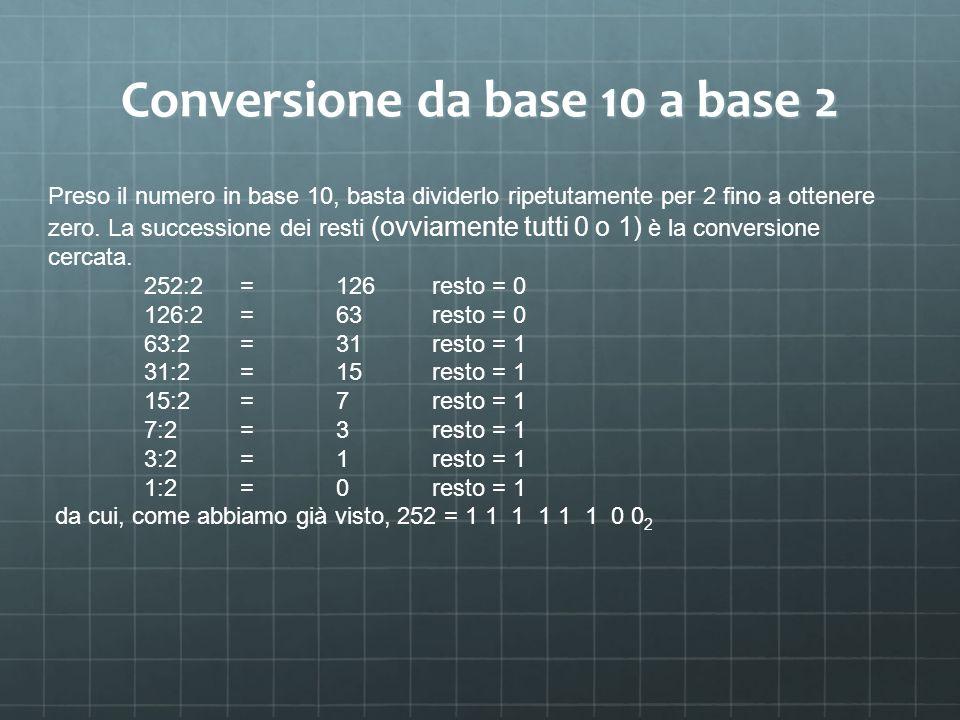 Conversione da base 10 a base 2 Preso il numero in base 10, basta dividerlo ripetutamente per 2 fino a ottenere zero. La successione dei resti (ovviam