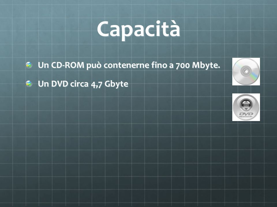 Capacità Un CD-ROM può contenerne fino a 700 Mbyte. Un DVD circa 4,7 Gbyte