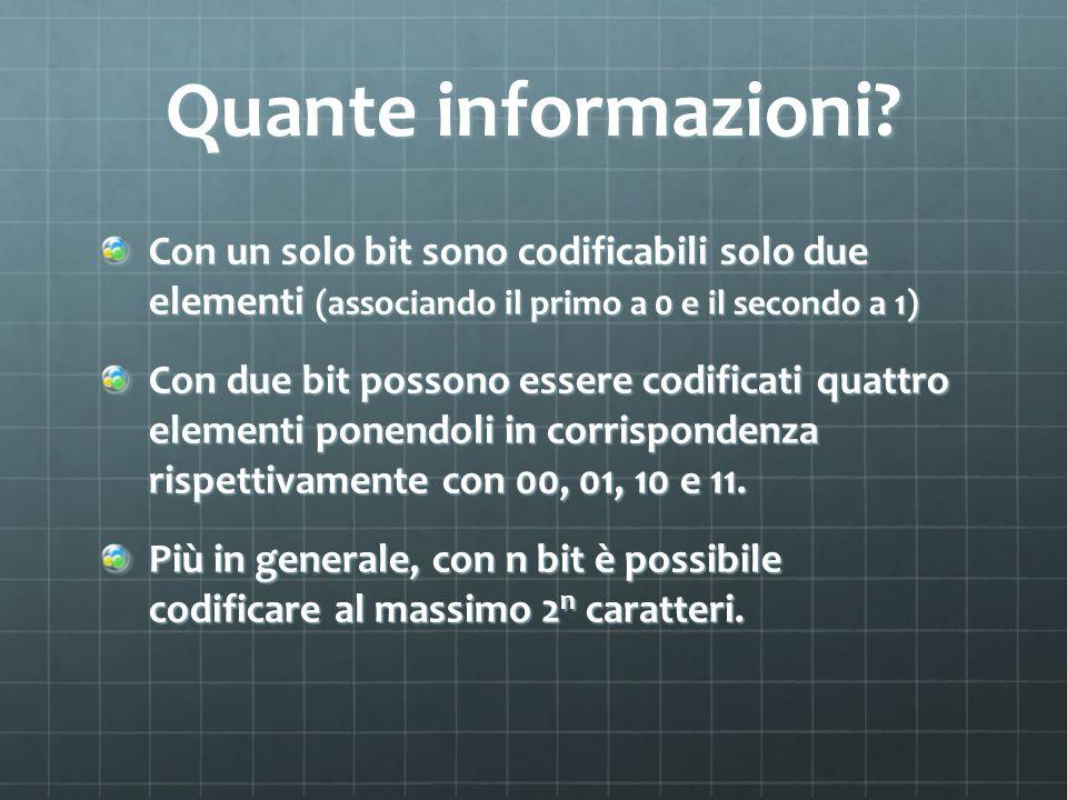 Quante informazioni? Con un solo bit sono codificabili solo due elementi (associando il primo a 0 e il secondo a 1) Con due bit possono essere codific