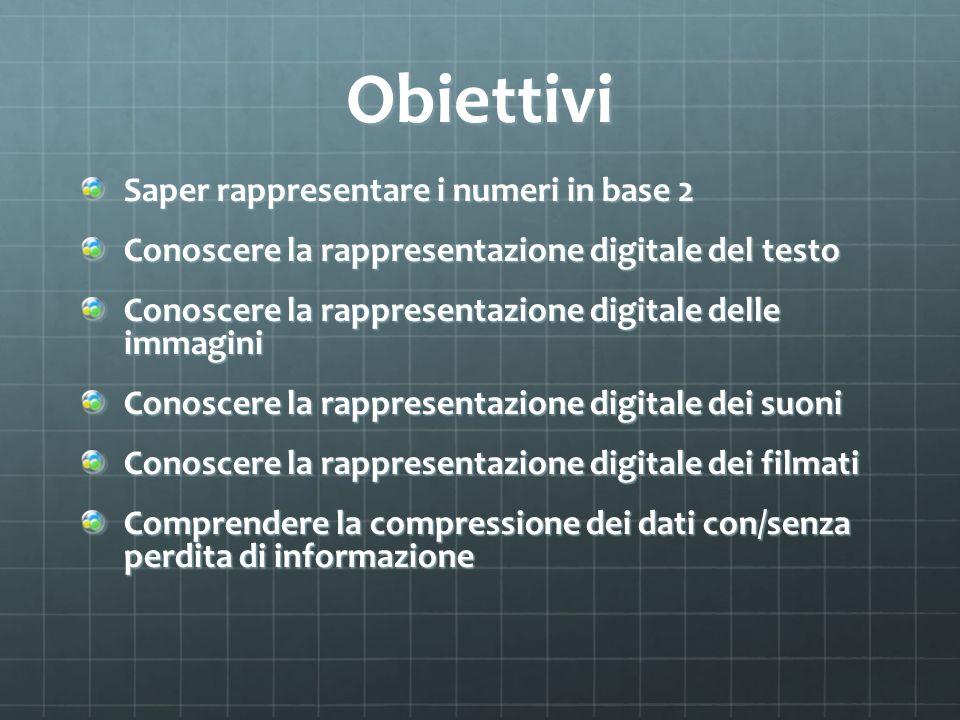 Obiettivi Saper rappresentare i numeri in base 2 Conoscere la rappresentazione digitale del testo Conoscere la rappresentazione digitale delle immagin