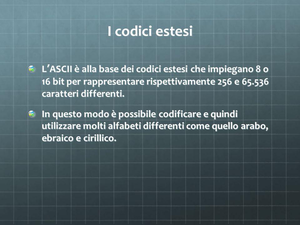 I codici estesi L ASCII è alla base dei codici estesi che impiegano 8 o 16 bit per rappresentare rispettivamente 256 e 65.536 caratteri differenti. In