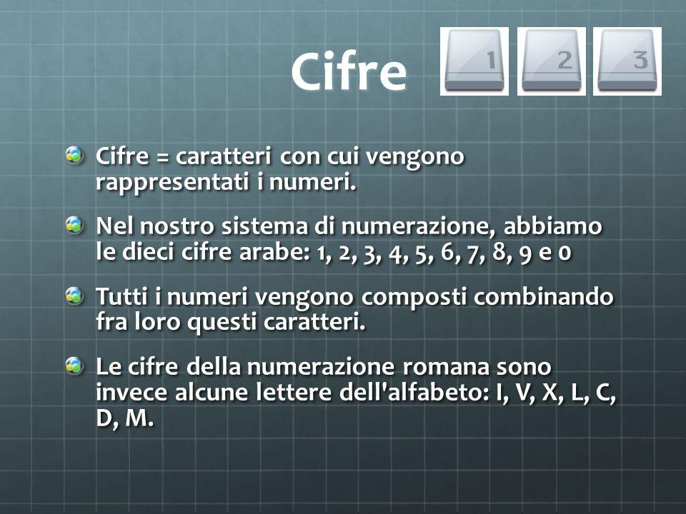 Cifre Cifre Cifre = caratteri con cui vengono rappresentati i numeri. Nel nostro sistema di numerazione, abbiamo le dieci cifre arabe: 1, 2, 3, 4, 5,