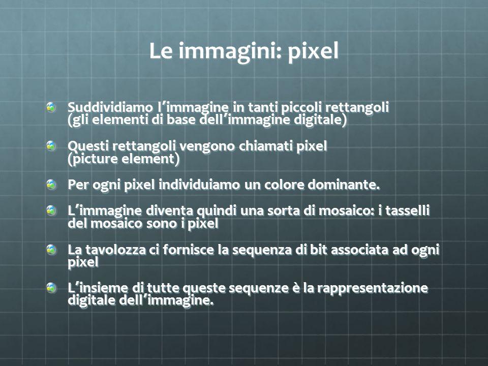 Le immagini: pixel Suddividiamo l immagine in tanti piccoli rettangoli (gli elementi di base dell immagine digitale) Questi rettangoli vengono chiamat