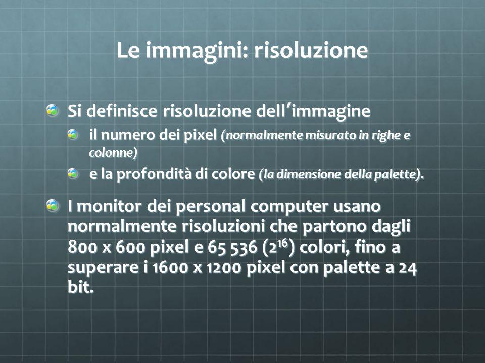 Le immagini: risoluzione Si definisce risoluzione dell immagine il numero dei pixel (normalmente misurato in righe e colonne) e la profondità di color