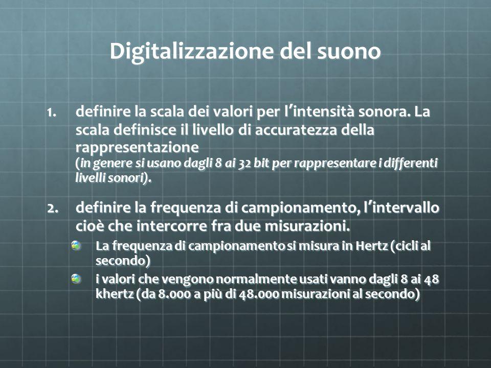 Digitalizzazione del suono 1.definire la scala dei valori per l intensità sonora. La scala definisce il livello di accuratezza della rappresentazione