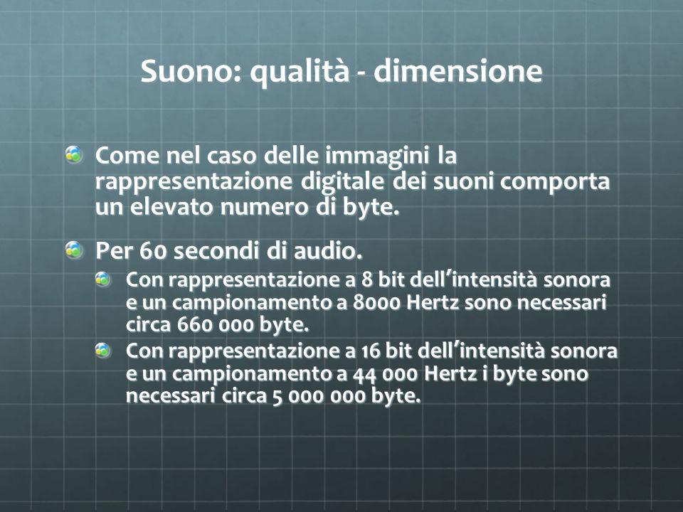Suono: qualità - dimensione Come nel caso delle immagini la rappresentazione digitale dei suoni comporta un elevato numero di byte. Per 60 secondi di
