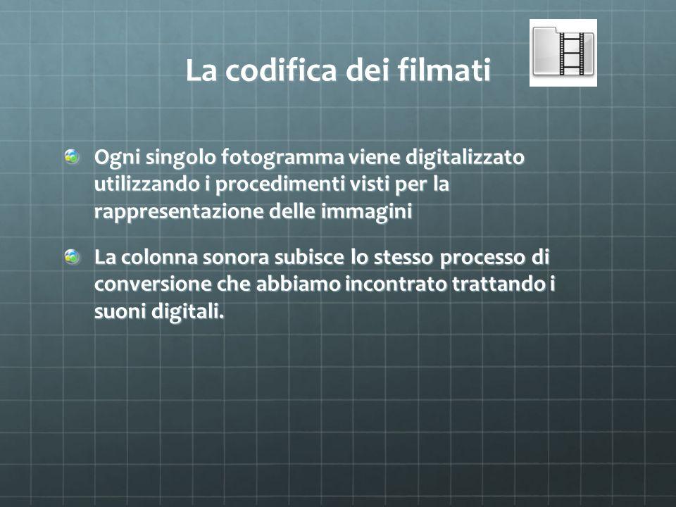 La codifica dei filmati Ogni singolo fotogramma viene digitalizzato utilizzando i procedimenti visti per la rappresentazione delle immagini La colonna