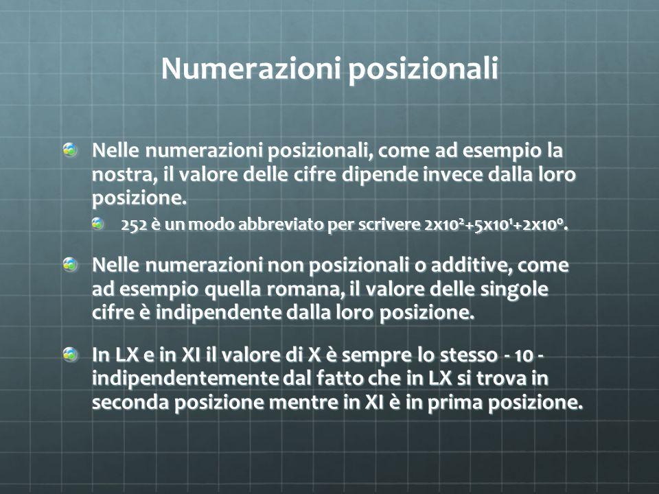 Numerazioni posizionali Nelle numerazioni posizionali, come ad esempio la nostra, il valore delle cifre dipende invece dalla loro posizione. 252 è un