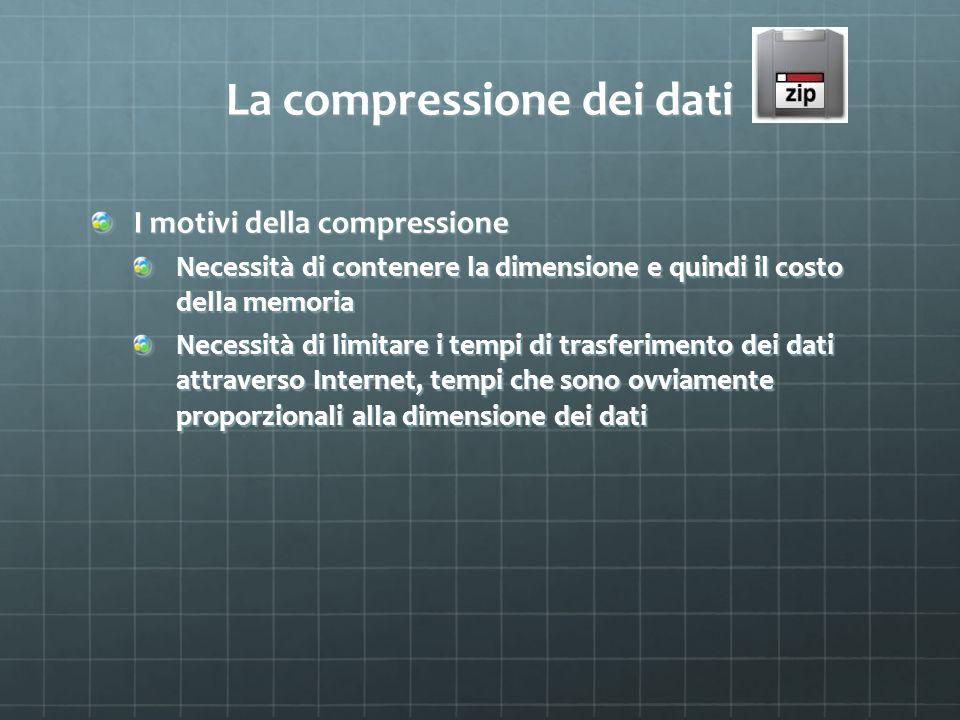 La compressione dei dati I motivi della compressione Necessità di contenere la dimensione e quindi il costo della memoria Necessità di limitare i temp