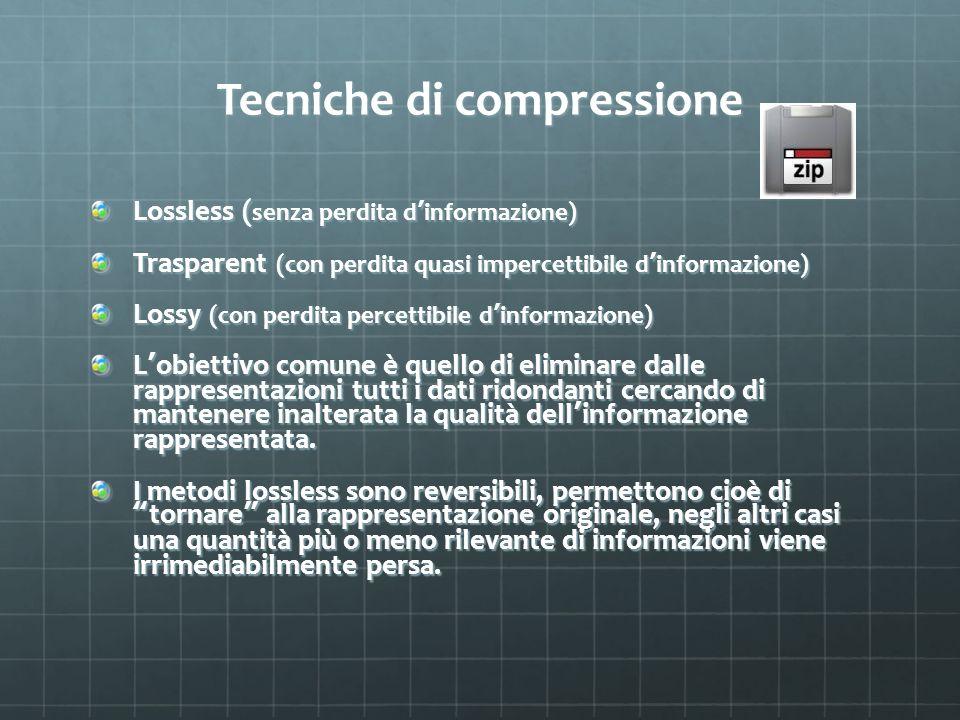 Tecniche di compressione Lossless ( senza perdita d informazione) Trasparent (con perdita quasi impercettibile d informazione) Lossy (con perdita perc