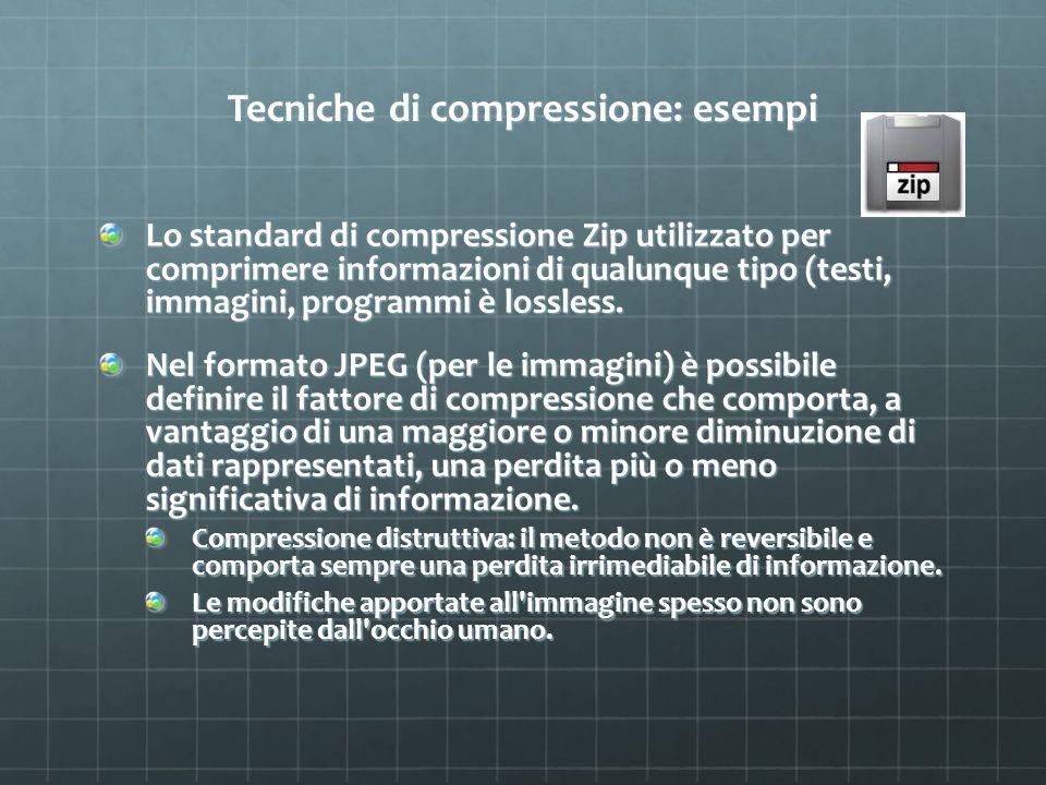 Tecniche di compressione: esempi Lo standard di compressione Zip utilizzato per comprimere informazioni di qualunque tipo (testi, immagini, programmi