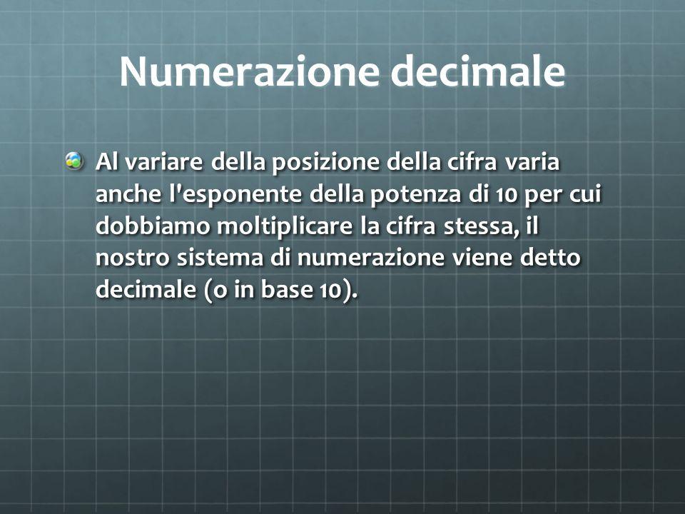 Numerazione decimale Al variare della posizione della cifra varia anche l'esponente della potenza di 10 per cui dobbiamo moltiplicare la cifra stessa,
