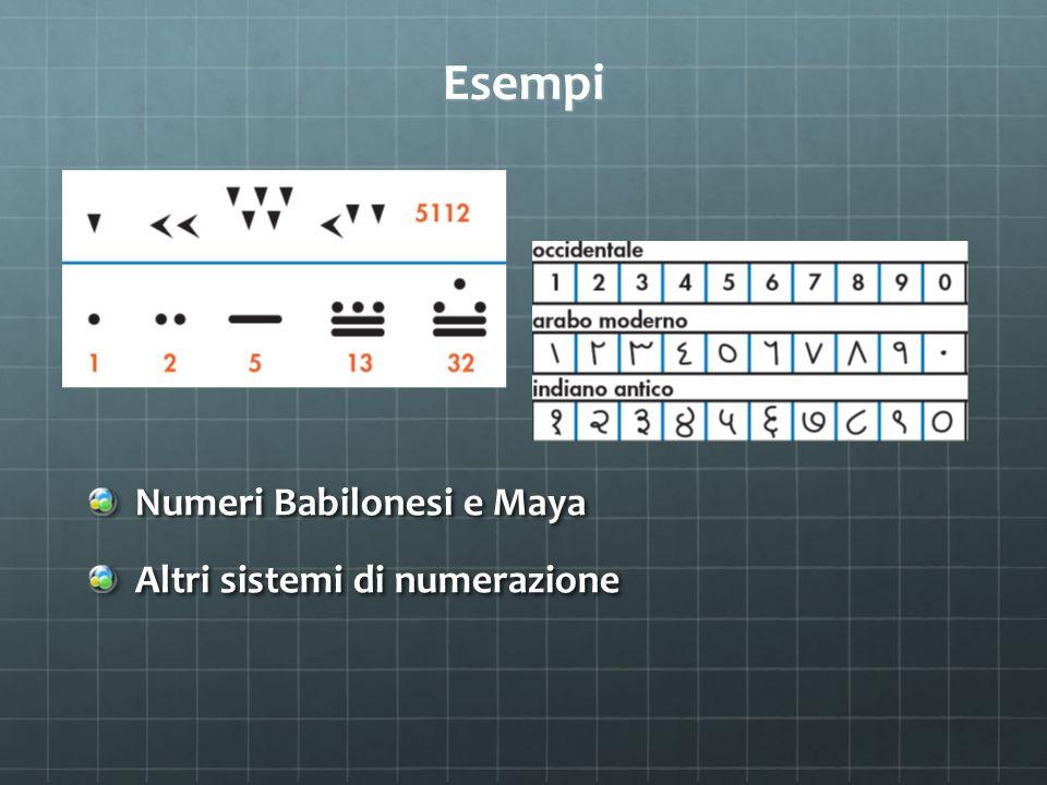 Esempi Numeri Babilonesi e Maya Altri sistemi di numerazione
