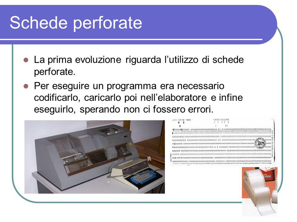 Schede perforate La prima evoluzione riguarda lutilizzo di schede perforate. Per eseguire un programma era necessario codificarlo, caricarlo poi nelle