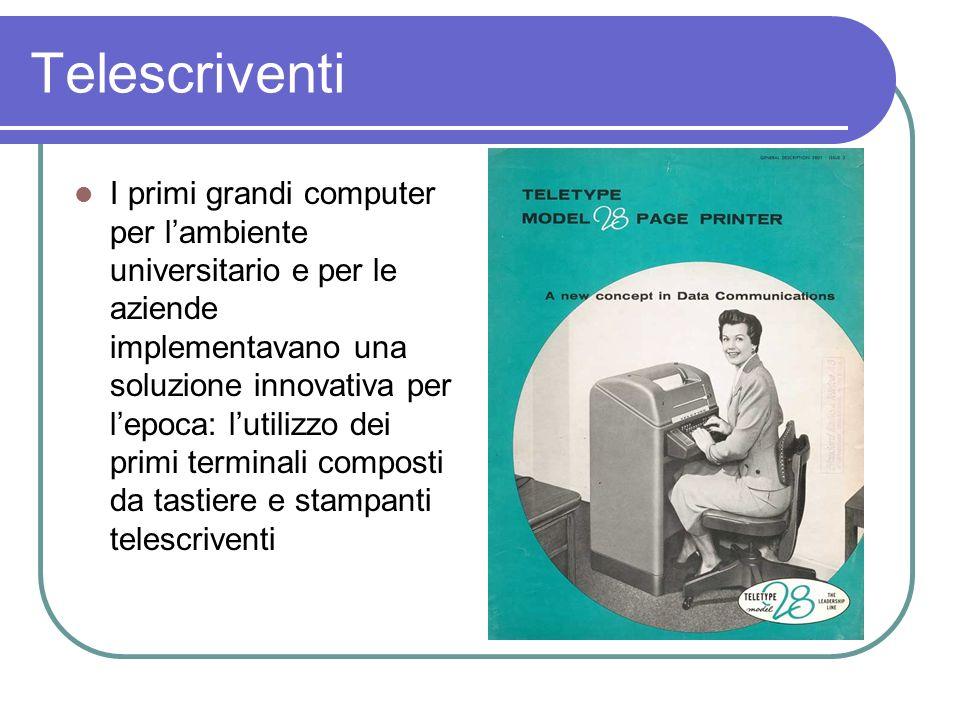 Telescriventi I primi grandi computer per lambiente universitario e per le aziende implementavano una soluzione innovativa per lepoca: lutilizzo dei p