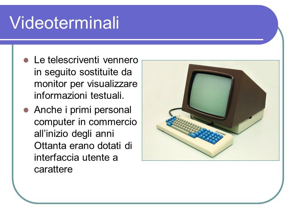 Videoterminali Le telescriventi vennero in seguito sostituite da monitor per visualizzare informazioni testuali. Anche i primi personal computer in co