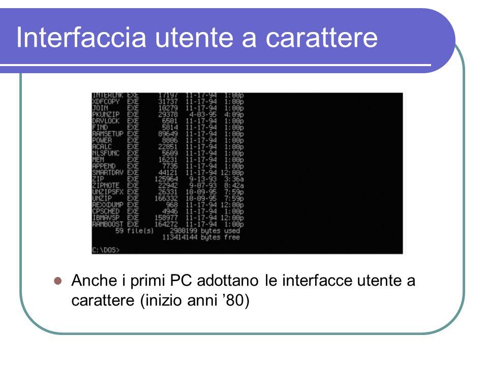 Interfaccia utente a carattere Anche i primi PC adottano le interfacce utente a carattere (inizio anni 80)