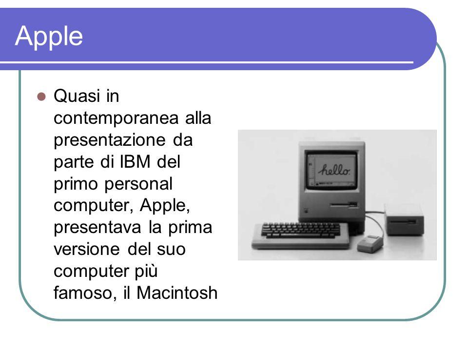 Apple Quasi in contemporanea alla presentazione da parte di IBM del primo personal computer, Apple, presentava la prima versione del suo computer più