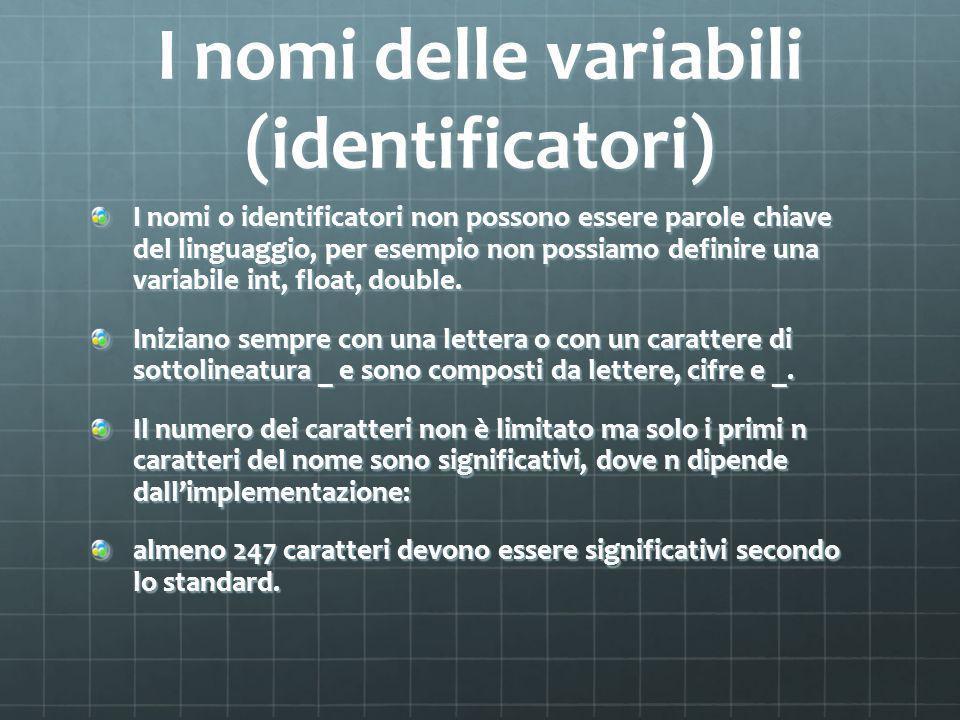 I nomi delle variabili (identificatori) I nomi o identificatori non possono essere parole chiave del linguaggio, per esempio non possiamo definire una variabile int, float, double.