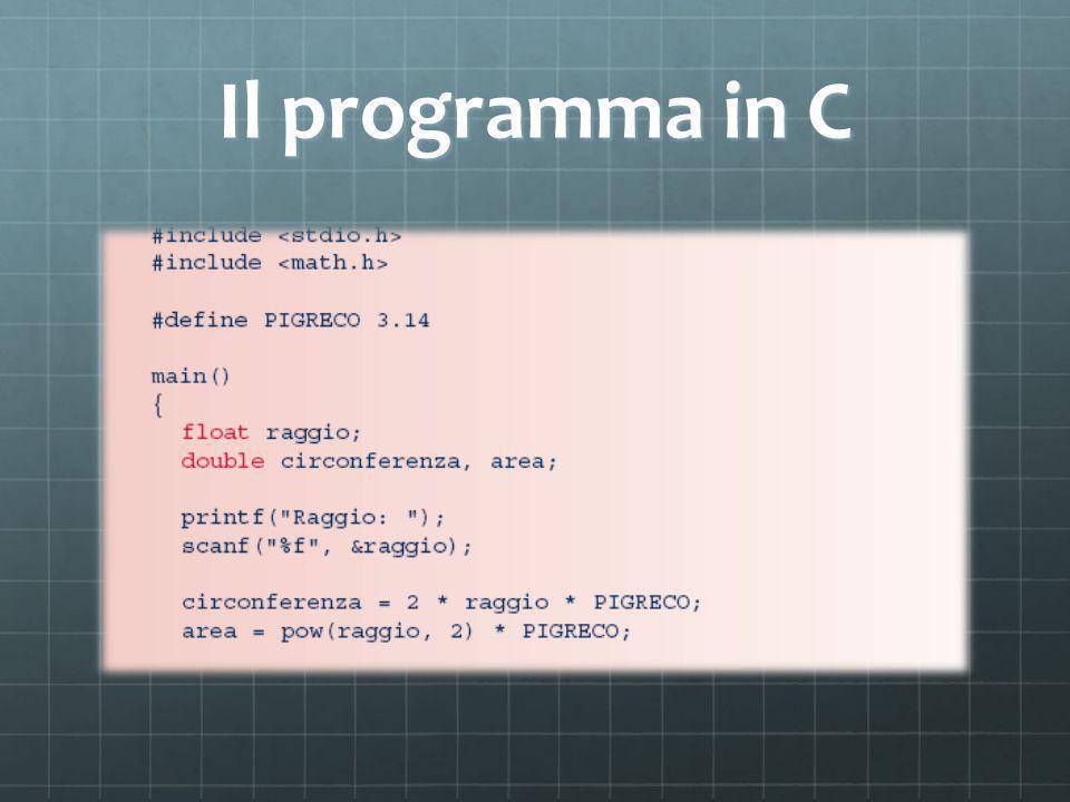Il programma in C