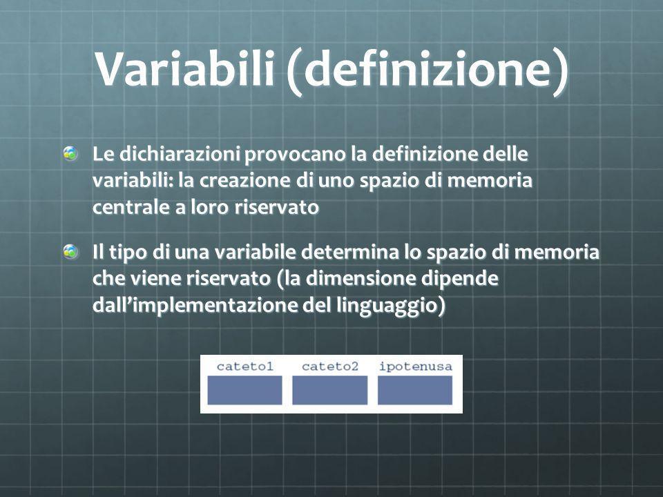 Variabili (definizione) Le dichiarazioni provocano la definizione delle variabili: la creazione di uno spazio di memoria centrale a loro riservato Il tipo di una variabile determina lo spazio di memoria che viene riservato (la dimensione dipende dallimplementazione del linguaggio)