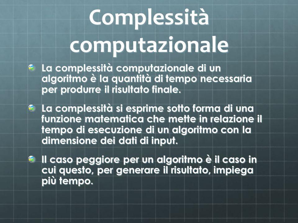 Complessità computazionale La complessità computazionale di un algoritmo è la quantità di tempo necessaria per produrre il risultato finale.
