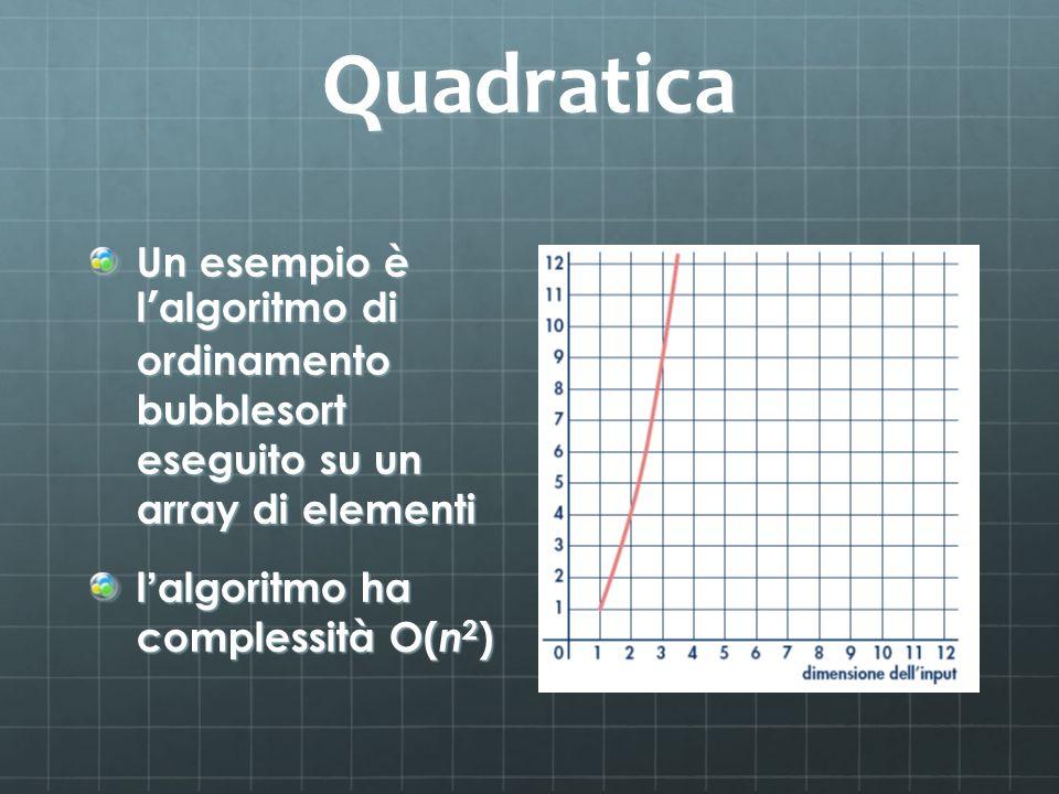 Quadratica Un esempio è l algoritmo di ordinamento bubblesort eseguito su un array di elementi l algoritmo ha complessità O( n 2 )
