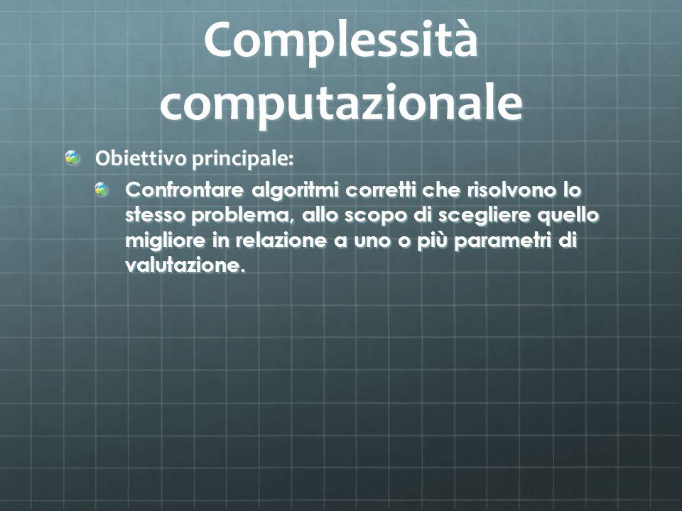 Complessità computazionale Obiettivo principale: Confrontare algoritmi corretti che risolvono lo stesso problema, allo scopo di scegliere quello migli