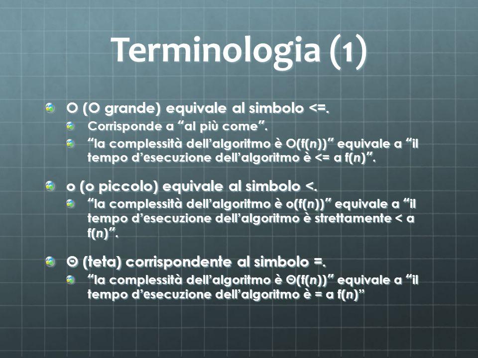Terminologia (1) O (O grande) equivale al simbolo <=. Corrisponde a al più come. la complessità dell algoritmo è O(f( n )) equivale a il tempo d e sec