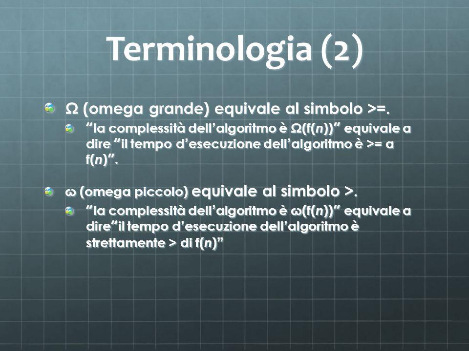 Terminologia (2) Ω (omega grande) equivale al simbolo >=. la complessità dell algoritmo è Ω(f( n )) equivale a dire il tempo d esecuzione dell algorit