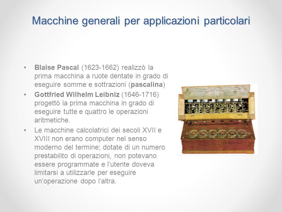 Macchine generali per applicazioni particolari Blaise Pascal (1623-1662) realizzò la prima macchina a ruote dentate in grado di eseguire somme e sottr
