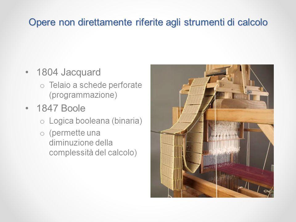 Opere non direttamente riferite agli strumenti di calcolo 1804 Jacquard o Telaio a schede perforate (programmazione) 1847 Boole o Logica booleana (bin