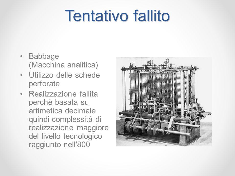 Tentativo fallito Babbage (Macchina analitica) Utilizzo delle schede perforate Realizzazione fallita perchè basata su aritmetica decimale quindi compl